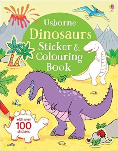 dinosaurs colouring & sticker book bind-up