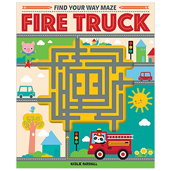 find your way maze fire truck